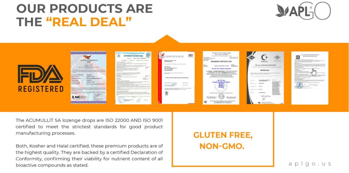 Our products are the real deal because they're FDA registered, gluten free and non-gmo