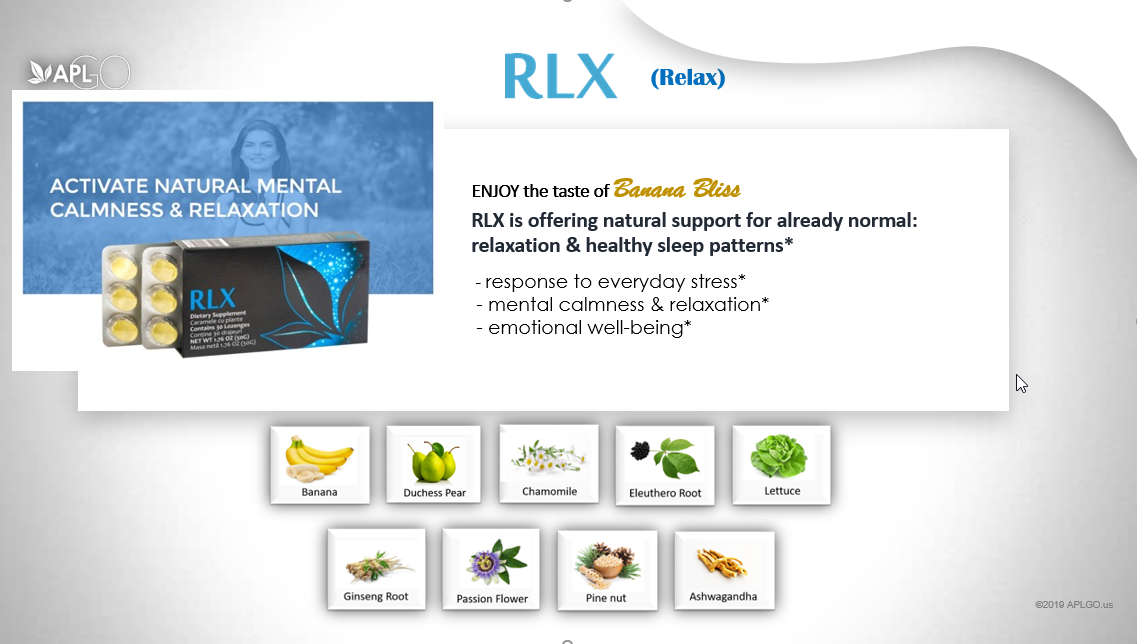 RLX tastes like banana and is designed to activate natural mental calmness and relaxation