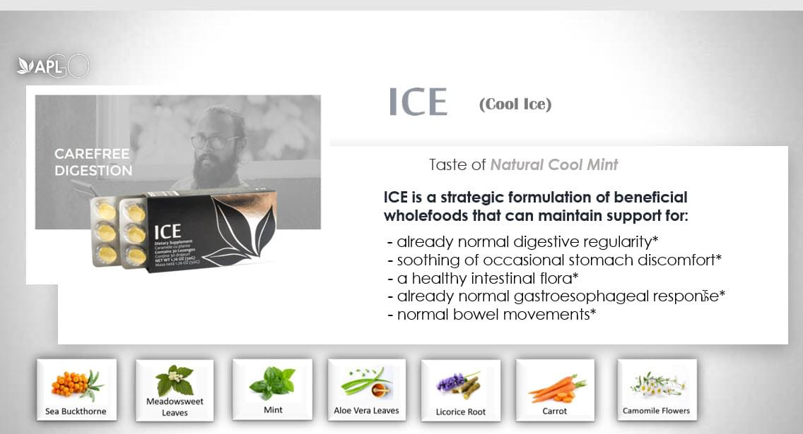 ICE tastes like a natural cool mint and designed for carefree digestion
